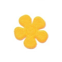 Applicatie bloem NEON oranje vilt middel 30 mm (ca. 100 stuks)