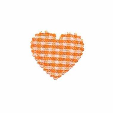 Applicatie ruitjes hart oranje klein 25 x 20 mm (ca. 100 stuks)