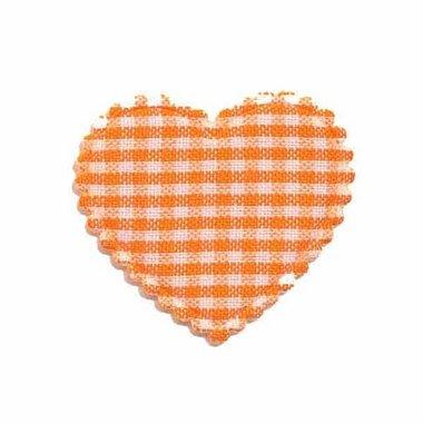 Applicatie ruitjes hart oranje middel 35 x 30 mm (ca. 100 stuks)