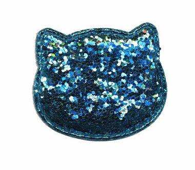 Applicatie glitter poes blauw groot 50 x 40 mm (10 stuks)