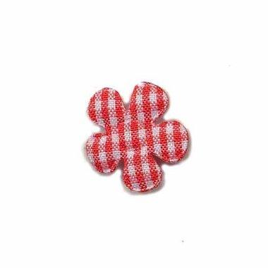 Applicatie geruite bloem rood-wit klein 20 mm (ca. 25 stuks)