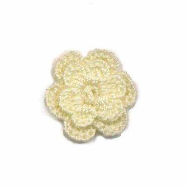 Gehaakt roosje ivoor 25 mm (10 stuks)