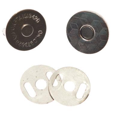 Magneetsluiting zilverkleurig 18 mm - extra plat en extra stevig (10 stuks)