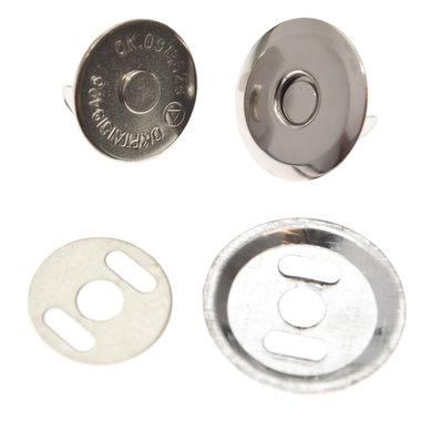 Magneetsluiting zilverkleurig 16 mm - extra plat en extra stevig (10 stuks)