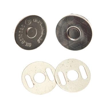 Magneetsluiting zilverkleurig 14 mm - extra plat en extra stevig (10 stuks)