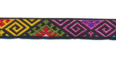 Sierband jacquard patroon geel-groen-roze-blauw-wit-rood 12 mm (ca. 22 m)