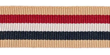 Zand-rood-wit-donkerblauw-zand grosgrainband 25 mm (ca. 45 m)
