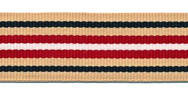 Zand-donkerblauw-zand-rood-wit grosgrainband 25 mm (ca. 45 m)