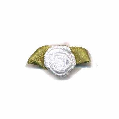 Roosje satijn wit op blad 15 x 25 mm (ca. 25 stuks)