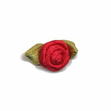 Roosje satijn rood op blad 15 x 25 mm (ca. 25 stuks)
