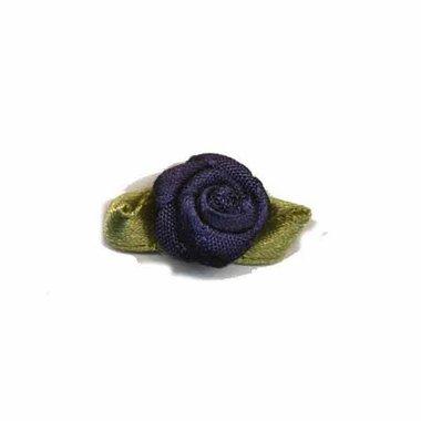 Roosje satijn donker blauw op blad 15 x 25 mm (ca. 25 stuks)