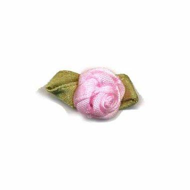 Roosje satijn roze op blad 15 x 25 mm (ca. 25 stuks)