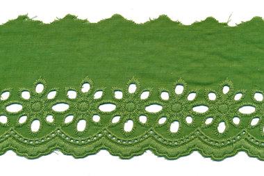 Broderie olijf groen KATOEN 75 mm (ca. 13,5 m)