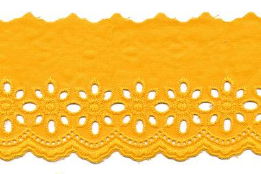 Broderie warm geel KATOEN 75 mm (ca. 13,5 m)