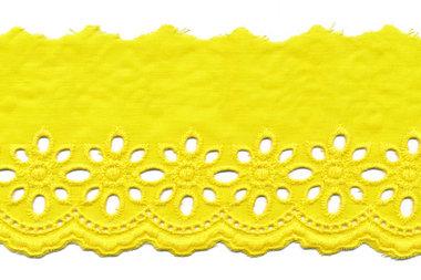 Broderie citroen geel KATOEN 75 mm (ca. 13,5 m)