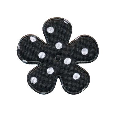Applicatie bloem zwart met witte stip katoen middel 35 mm (ca. 100 stuks)