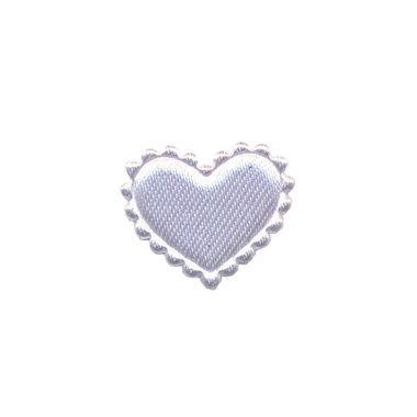 Applicatie hart wit satijn klein 20 x 17 mm (ca. 100 stuks)