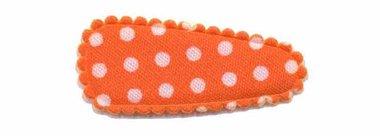 Haarkniphoesje oranje met witte stip / polkadot 3 cm (ca. 100 stuks)