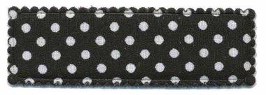 Haarkniphoesje zwart met witte stip / polkadot 5 cm rechthoekig (ca. 100 stuks)