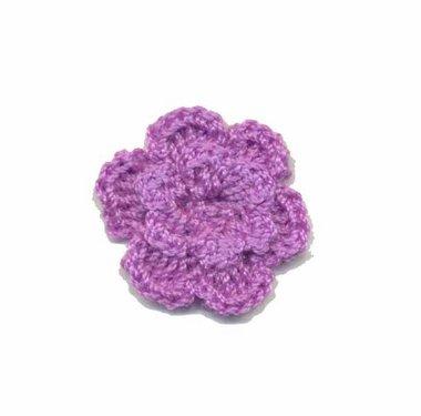 Gehaakt roosje lila 25 mm (10 stuks)