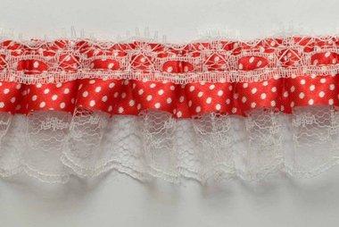 Roezel kant rood met witte polkadot 50 mm (ca. 10 meter)