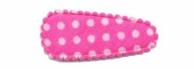 Haarknip met haarkniphoesje knal roze met witte stip / polkadot 3 cm (ca. 100 stuks)