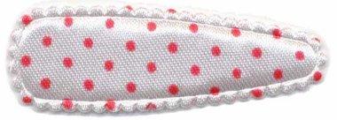 Haarkniphoesje satijn wit met rode stip / polkadot 5 cm (ca. 100 stuks)