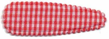 Haarkniphoesje geruit wit-rood 5 cm (ca. 20 stuks)