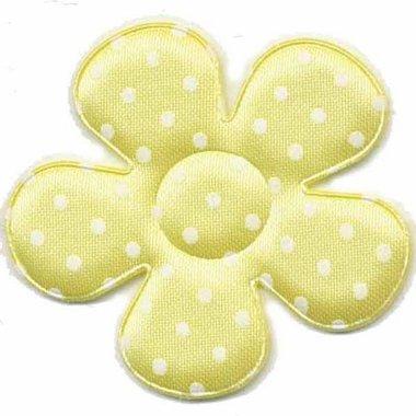 Applicatie bloem geel met witte stippen satijn groot 45 mm (25 stuks)