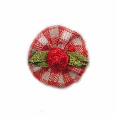 Roosje satijn rood op geruit blad 25 mm (10 stuks)