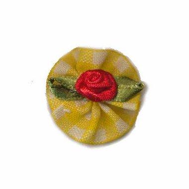Roosje satijn rood op geel geruit blad 25 mm (10 stuks)