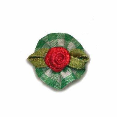 Roosje satijn rood op groen geruit blad 25 mm (10 stuks)