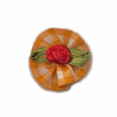 Roosje satijn rood op oranje geruit blad 25 mm (10 stuks)