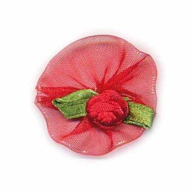 Roosje satijn rood op rood organza blad 30 mm (10 stuks)