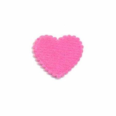 Applicatie hart fuchsia vilt klein 20 x 20 mm (ca. 100 stuks)