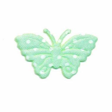 Applicatie vlinder groen met witte stippen satijn middel 40 x 25 mm (ca. 25 stuks)