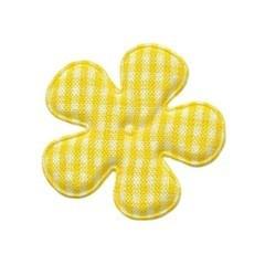 Applicatie geruite bloem geel-wit middel 35 mm (ca. 25 stuks)