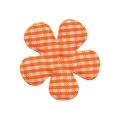 Applicatie geruite bloem oranje-wit middel 35 mm (ca. 25 stuks)