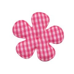 Applicatie geruite bloem fuchsia-wit middel 35 mm (ca. 25 stuks)
