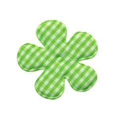 Applicatie geruite bloem groen-wit middel 35 mm (ca. 25 stuks)