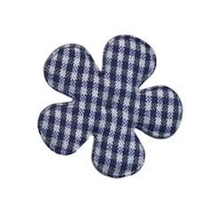 Applicatie geruite bloem donker blauw-wit middel 35 mm (ca. 25 stuks)