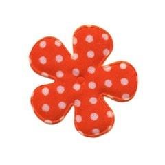Applicatie bloem oranje met witte stip katoen middel 35 mm (ca. 25 stuks)