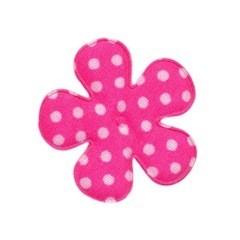 Applicatie bloem knal roze met witte stip katoen middel 35 mm (ca. 25 stuks)