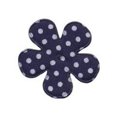Applicatie bloem donker blauw met witte stip katoen middel 35 mm (ca. 25 stuks)