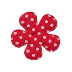 Applicatie bloem rood met witte stip katoen middel 35 mm (ca. 25 stuks)