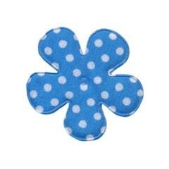 Applicatie bloem blauw met witte stip katoen middel 35 mm (ca. 25 stuks)