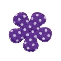 Applicatie bloem paars met witte stip katoen middel 35 mm (ca. 100 stuks)