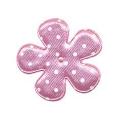 Applicatie bloem roze met witte stip satijn middel 35 mm (ca. 25 stuks)