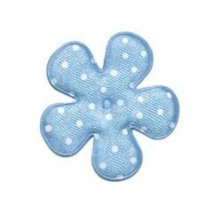Applicatie bloem blauw met witte stip satijn middel 35 mm (ca. 25 stuks)