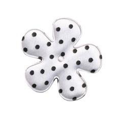Applicatie bloem wit met zwarte stip satijn middel 35 mm (ca. 100 stuks)